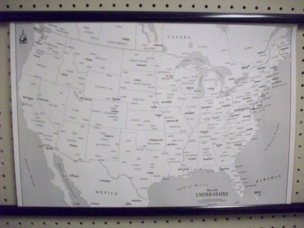 Map of the United States Greyscale Desktop Map Paper/Non-Laminated