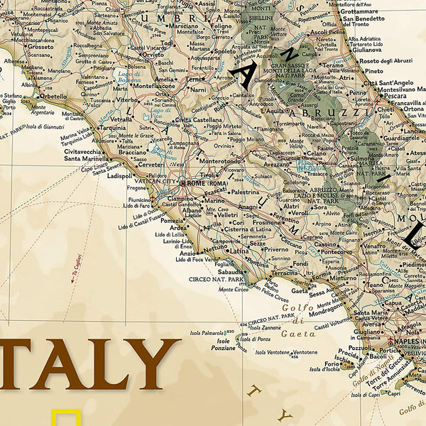 National Geographic: Italy Executive Wall Map (23.25 × 34.25 inches)