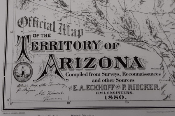 Official Map of the Territory of Arizona 1880 Dry Erase Laminated