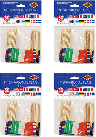 "Beistle S60108AZ4 International Flag Picks, 2.5"", Pack of 200"
