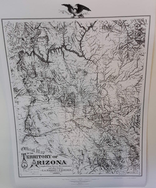 Official Map of the Territory of Arizona 1880 Enlarged Dry Erase Laminated