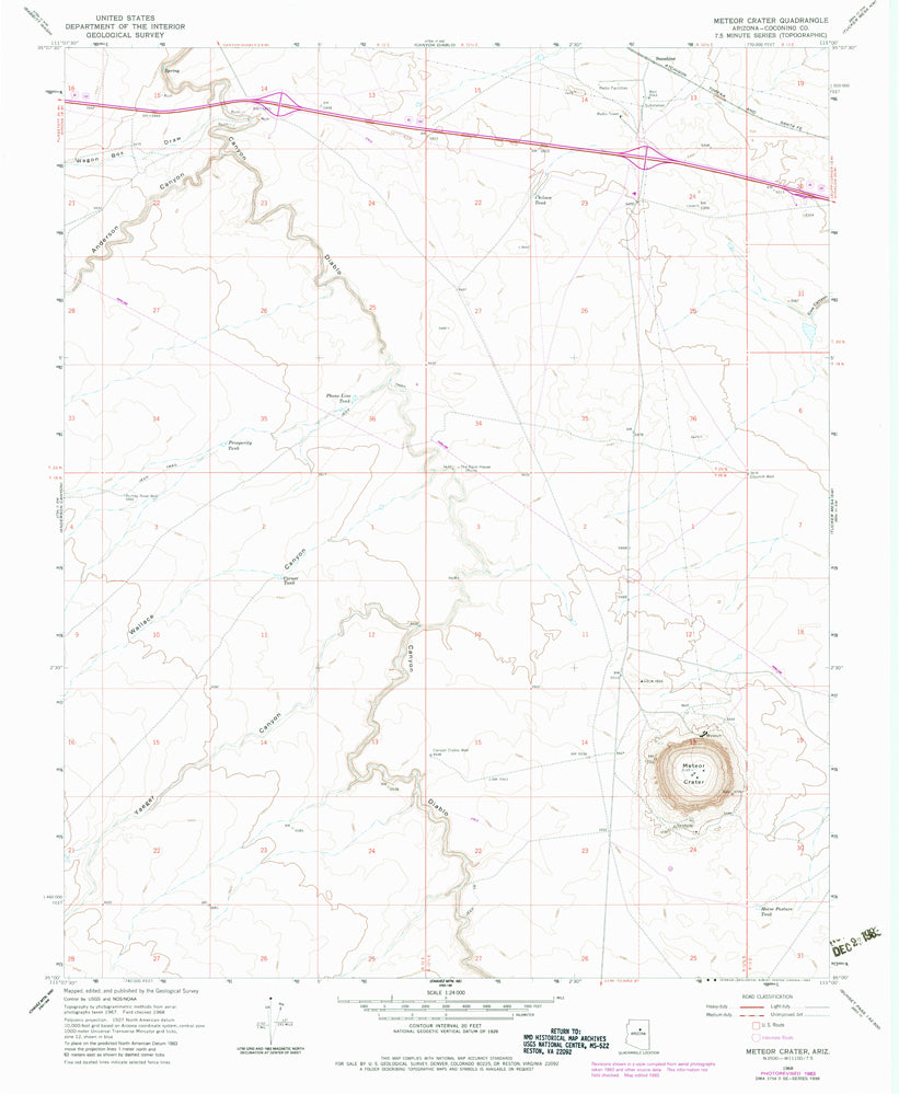Meteor Crater Arizona Map.Meteor Crater Arizona 7 5 7 5 Topographic Quadrangle Wide