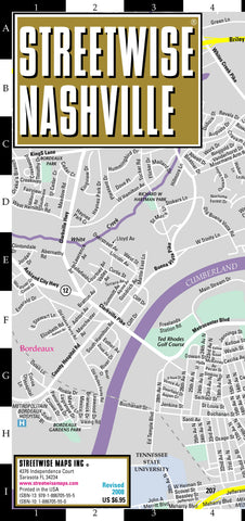 Streetwise Nashville Map - Laminated City Center Street Map of Nashville, Tennessee - Folding pocket size travel map