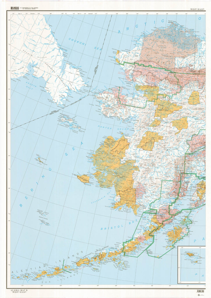 State of Alaska Map B Base Map with Highways with Contours (West Half) (TAK02...