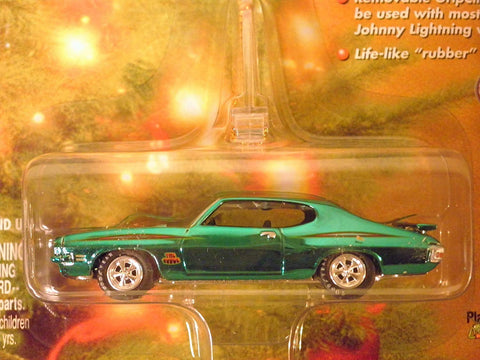 1971 GTO Judge (metallic green) Holiday Muscle Ornament with Removable Hanger 1:64 scale die-cast by Johnny Lightning