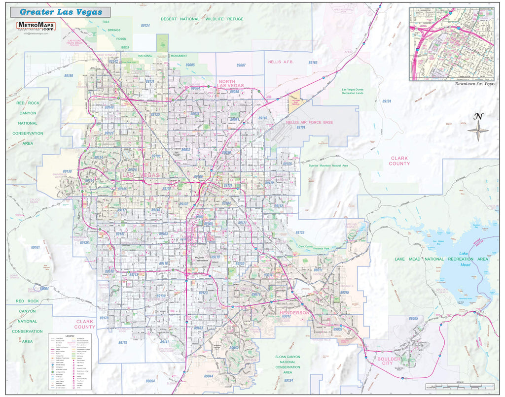 "Greater Las Vegas-Clark County Detailed Region Wall Map *ZIP Codes* Laminated 45""x36"" - Wide World Maps & MORE! - Book - Wide World Maps & MORE! - Wide World Maps & MORE!"