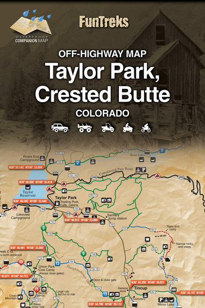 Off-Highway Map for Taylor Park, Crested Butte Colorado