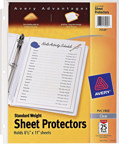 Avery 75530 Clear Standard Weight Reference Sheet Protectors 25 Count