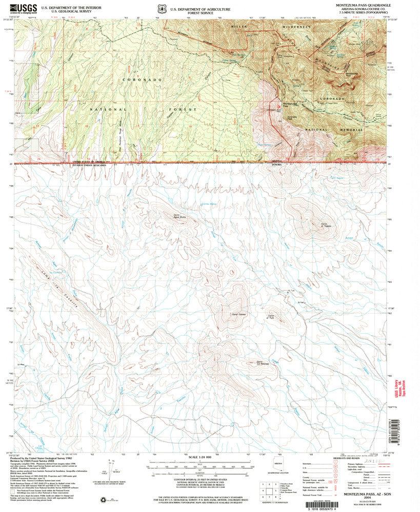 us topo - MONTEZUMA PASS, Arizona-Sonora 7.5' - Wide World Maps & MORE! - Map - Wide World Maps & MORE! - Wide World Maps & MORE!