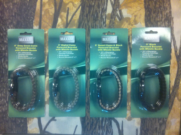 "9"" Paracord Bracelet with Whistle Buckle 4-Pack Assortment"