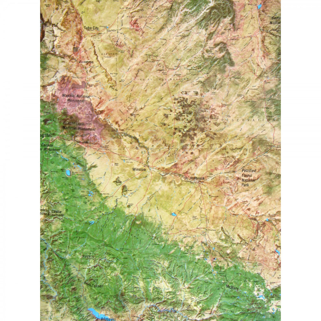 Satellite Map Of Arizona.Arizona Satellite Series Raised Relief Map In A Wood Frame
