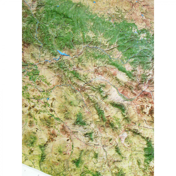 Arizona Satellite Raised Relief Map in a Wood Frame