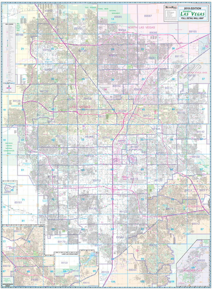 Greater Las Vegas Area Wall Map—Dry Erase Ready-to-Hang [Map] Metro on