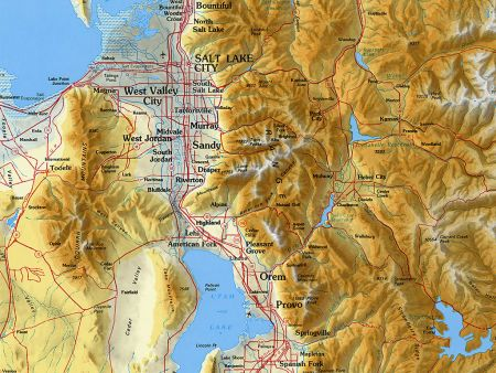 Utah Topographic Wall Map by Raven Maps, Gloss Laminated Print