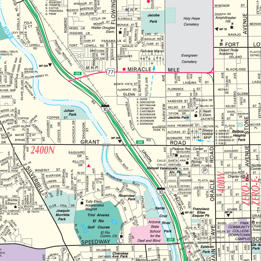 Tucson Metropolitan Full Detail Wall Map