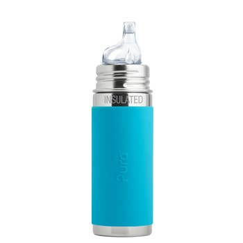 11oz Stainless Steel Sippy Bottle with Silicone Sleeve - Aqua