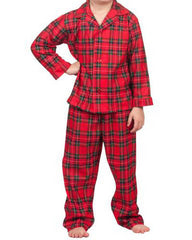 Laura Dare Boys' Dewar Tartan Plaid Tailored Holiday Pajamas