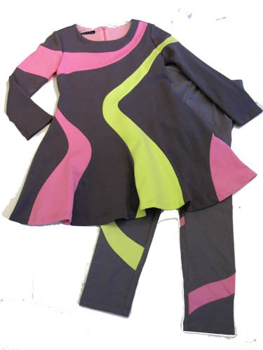 Biscotti Flower Flair Colorblock Dress and Leggings