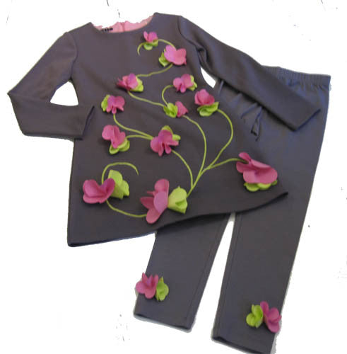 Biscotti Flower Flair Grey Flower Dress and Leggings