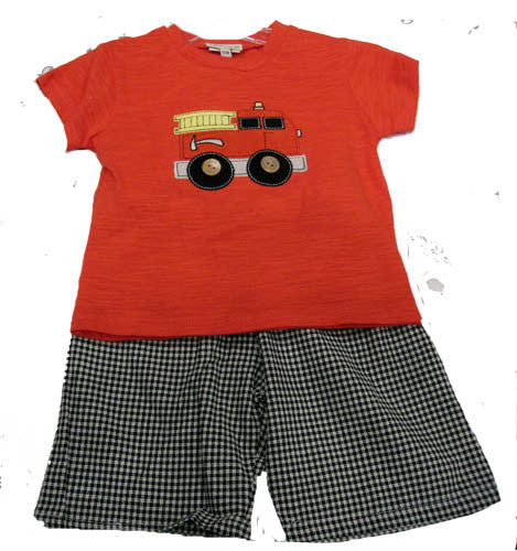 Cach Cach Fire Truck Boys' Short Set