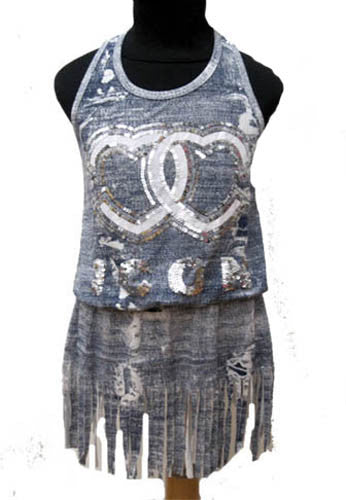 Flowers by Zoe Sublimation Denim Fringed Dress