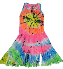 Flowers by Zoe Tie Dye Fringed Dress