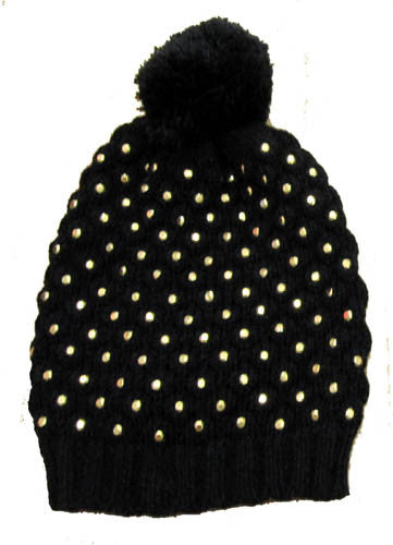 Flowers by Zoe Black Studded Pom Pom Knit Hat