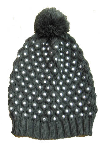 Flowers by Zoe Charcoal Studded Pom Pom Knit Hat