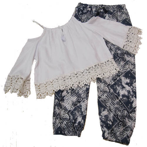 Flowers by Zoe Cold Shoulder Peasant Top and Banded Bandana Pants