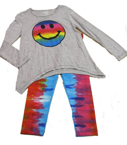 Flowers by Zoe Dip Dye Smile Top with Tie Dye Leggings