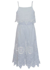 Hannah Banana White Embroidered Lace Jumpsuit