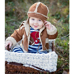 Haute Baby First Down Faux Suede Boys' Jacket and Flap Cap