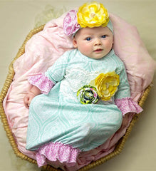 Haute Baby Kaylee's Bouquet Newborn Gown and Cap