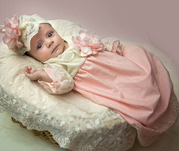 Haute Baby Peach Blossom Newborn Gown and Cap Set