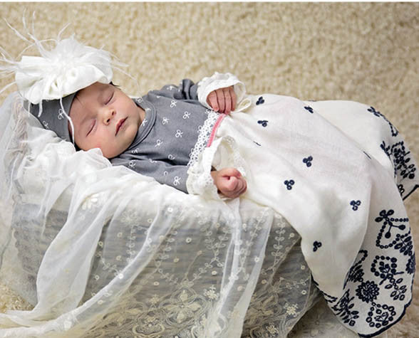 Haute Baby Winter Pearl Newborn Gown and Cap