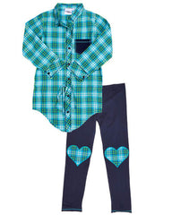 Hipster Genius Blue Plaid Drawstring Top with Navy Leggings