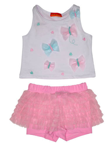 Kate Mack Butterfly Wishes Tee & Ruffle Shorts