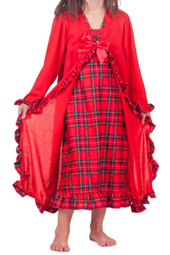 Laura Dare Dewar Tartan Plaid Holiday Peignoir Set