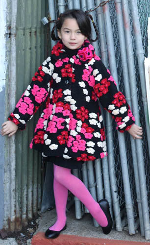 Mack & Co Cherry Confetti Floral Faux Fur Coat and Hat