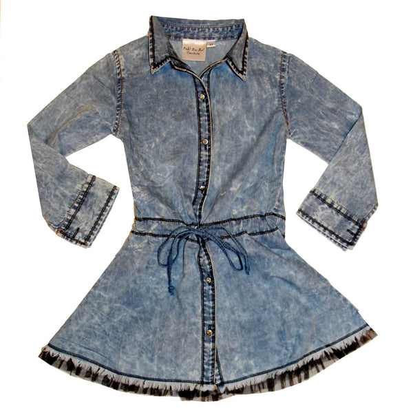 Ooh! La, La! Couture Denim Dress with Black Tulle Trim