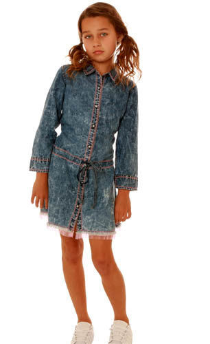 Ooh! La, La! Couture Denim Dress with Pink Tulle Trim