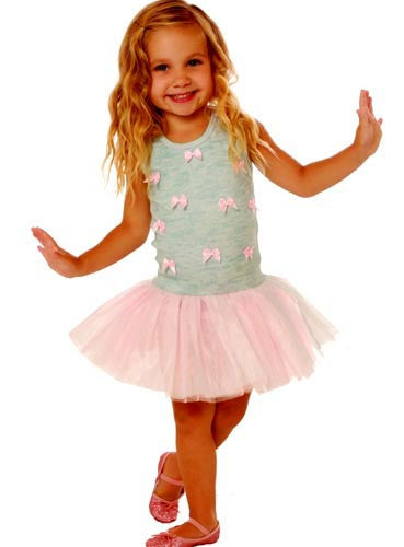 Ooh! La, La! Couture Sky Blue/Pink Parfait Little Bows Dress