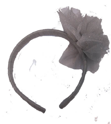 Ooh! La, La! Couture Silver Tulle Flower Headband