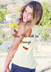 Ragdoll & Rockets Tangy Orange Cut Back Tank Top