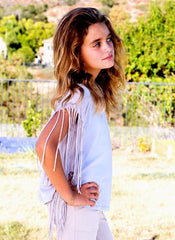 Ragdoll & Rockets Fringed Ombre Tee