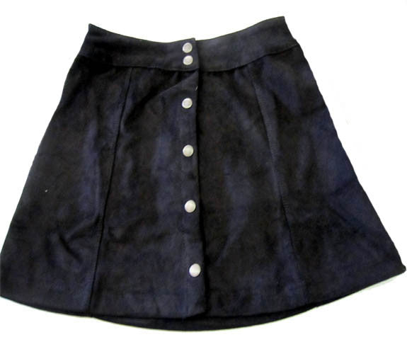 Ragdoll & Rockets Black Faux Suede Snap Skirt