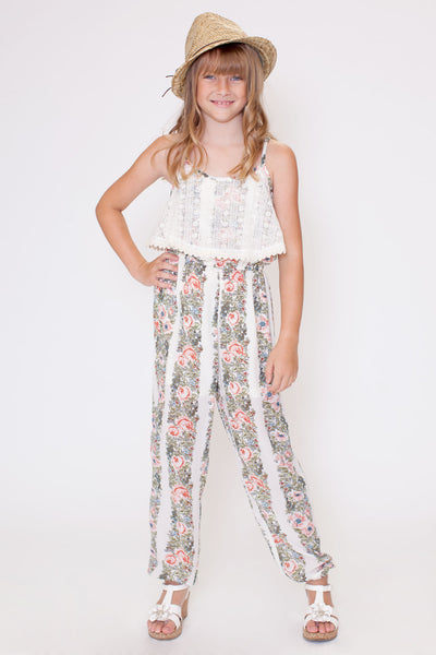 Truly Me Lace Overlay Floral Jumpsuit
