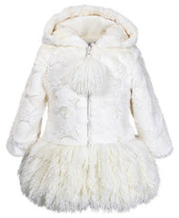 Widgeon Cloud Cream Hooded Shaggy Trim Coat