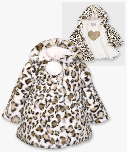Widgeon Leopard Hooded Pom Pom Coat