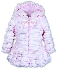 Widgeon Sequin Sparkle Pink Faux Fur Hooded Coat